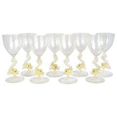 Set of Eight Salviati Italian Venetian Murano Wine Stem Glasses