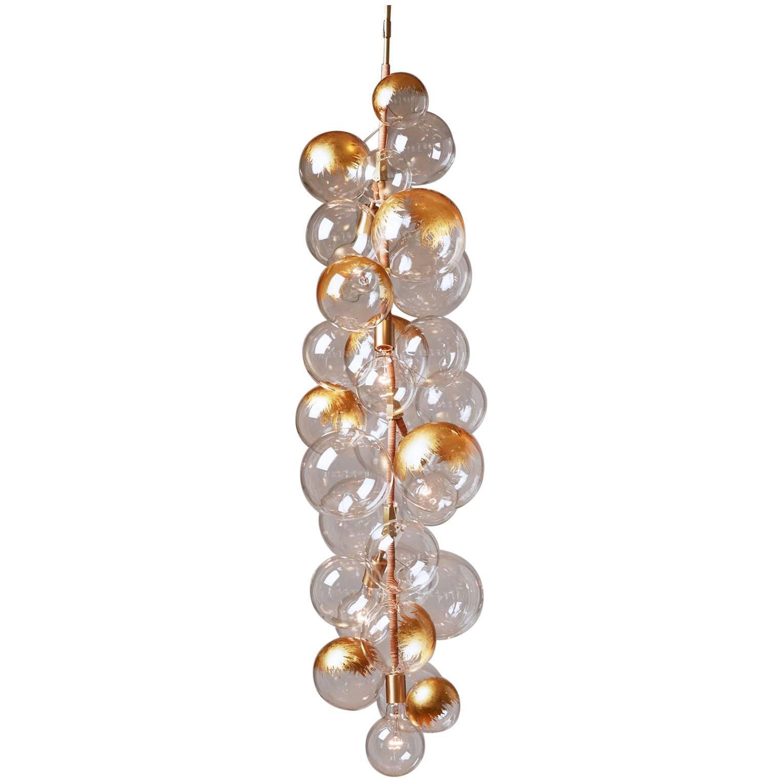 24k Gold Leaf X-Tall Bubble Chandelier by Pelle