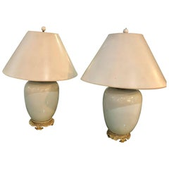 Pair of Hollywood Regency  Style Porcelain Ginger Jar Lamps