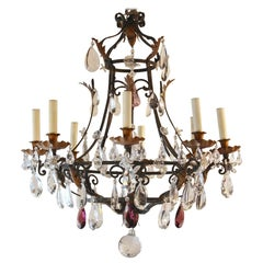 Antique French Eight-Light Wrought Iron and Crystal Chandelier