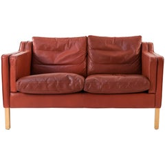 Børge Mogensen Style Stouby Indian Red Leather Loveseat, Danish Midcentury