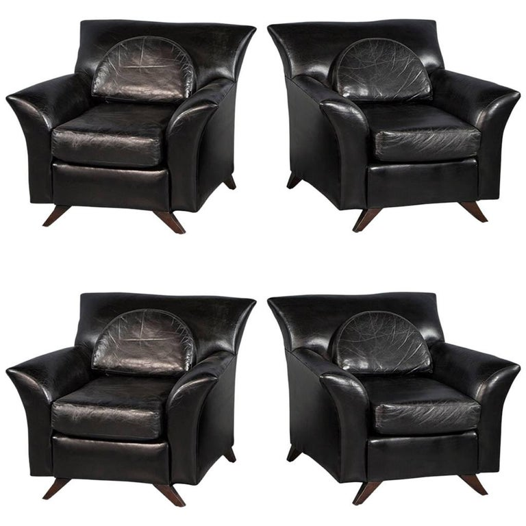 Pair Of Black Leather Oversize Bat Wing Style Parlor Chairs For