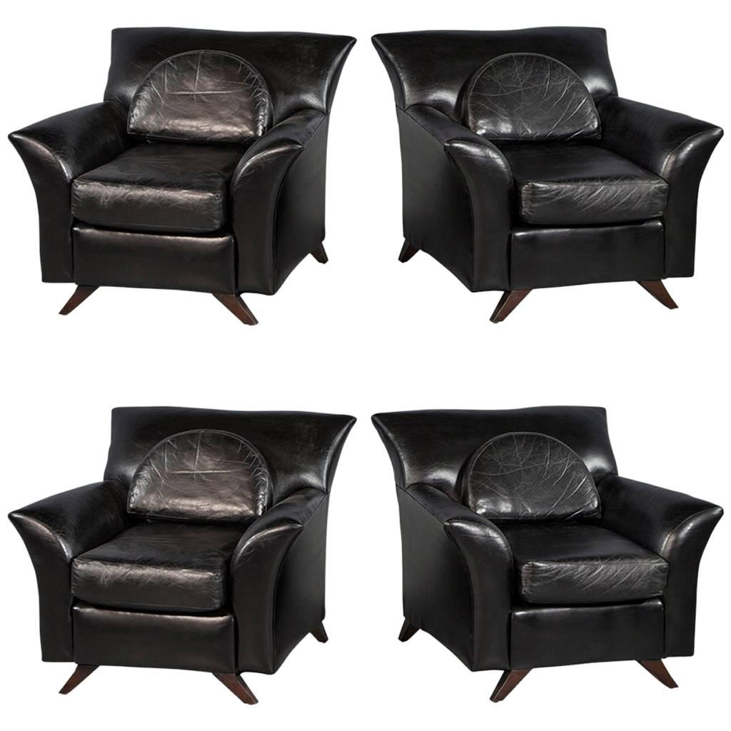 Exceptionnel Pair Of Black Leather Oversize Bat Wing Style Parlor Chairs For Sale