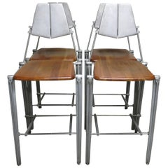 Robert Josten Barstools Set of Four Aluminum and Maple