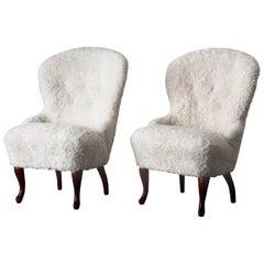 Lounge Chairs Swedish Pair Sheepskin Sweden
