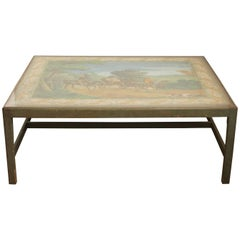 Large Cocktail Table Inset with Zuber Wallpaper Panel