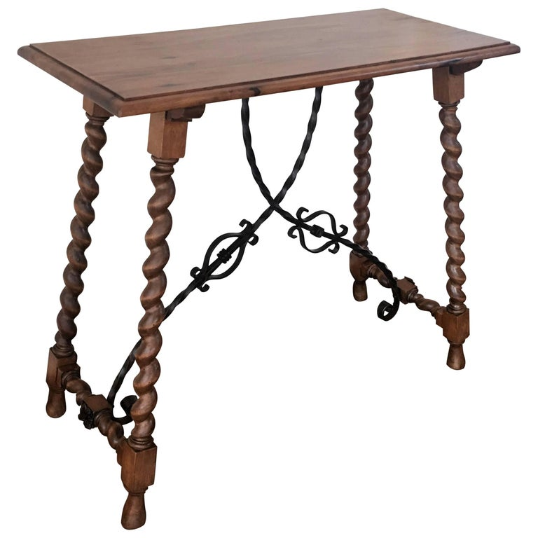 19th Spanish Console table with Iron Stretcher & turned legs.Side Table. Baroque