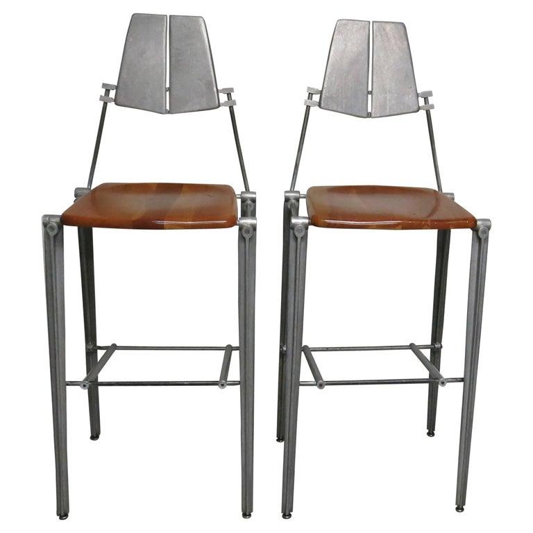 Pair of Robert Josten Barstools Aluminum and Maple Industrial Design