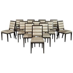 Set of 12 Custom Carrocel Art Deco Roll Back Dining Chairs