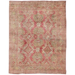 Antique Turkish Oushak Rug with Flowing Diamond and Geometric Design