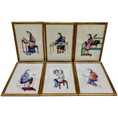 Six Antique Chinese Paintings of Noble Ladies on Rice Paper In Gilt Wood Frames