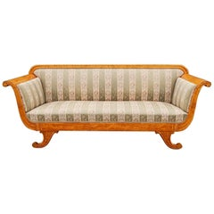 Biedermeier Revival Sofa with Panelled Sides in Golden Birch, Sweden, 1920s