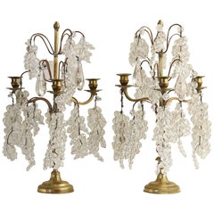 Pair of French Brass and Crystal Three-Light Candelabra