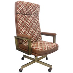 Vintage 1970's Mid-Century Modern High-Back Executive Desk Office Chair