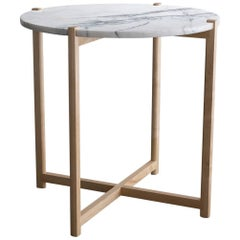 Pierce Side Table, Round Maple Hardwood, White Carrara Marble Top