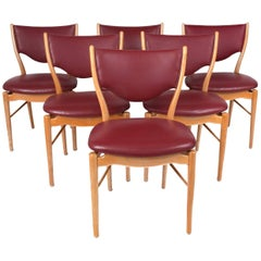 Finn Juhl Sinuous Set of Six Red Dining Chairs in Beech & Leather, Denmark 1950s