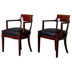 Armchairs Desk Chairs Swedish Karl Johan 19th Century Mahogany Sweden