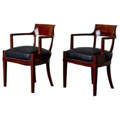 Armchairs Desk Chairs Swedish Karl Johan 19th Century Mahogany Sweden