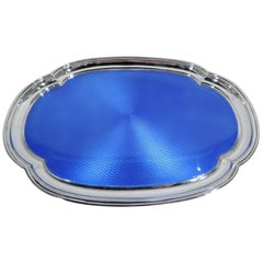 English Art Deco Sterling Silver and Blue Enamel Vanity Tray