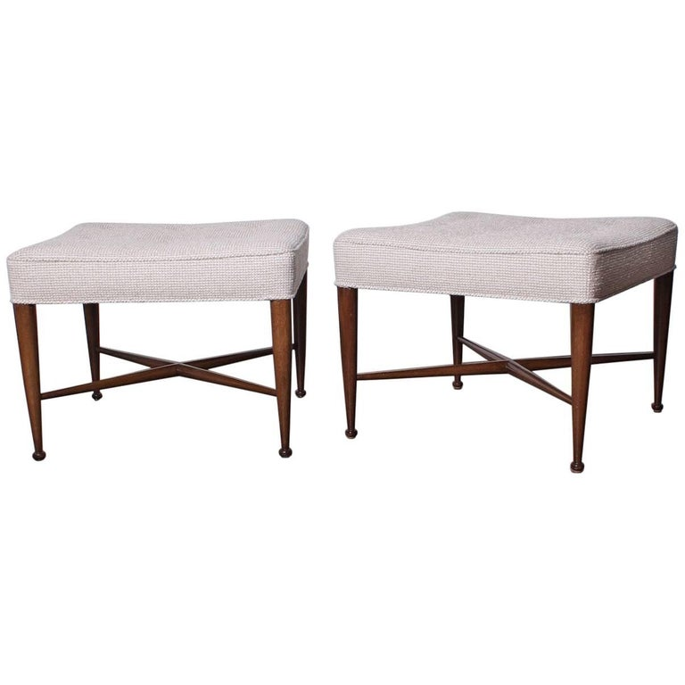 Pair of Thebes Stools by Edward Wormley for Dunbar For Sale