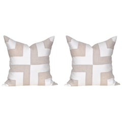 Pair of Large Contemporary Irish Linen Pillows Cushions White Natural Patchwork