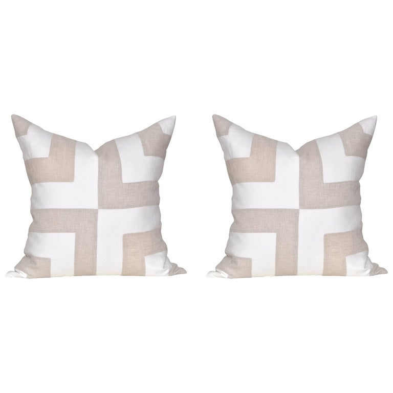 Pair of Large Contemporary Irish Linen Pillows Cushions White Natural Patchwork For Sale