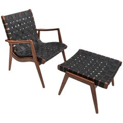 Woven Leather Strapped Walnut Armchair and Ottoman by Smilow furniture