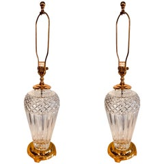 Pair of Waterford Crystal Signed Table Lamps with Stunning Custom Shades