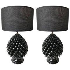 Pair of Pine Ceramic Lamps by Firlaro, Italy, 1980s