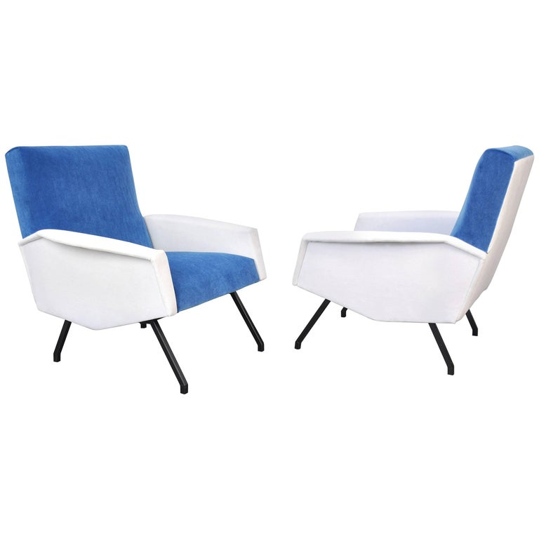 Pair of Italian Blue and White Velvet Lounge Chairs
