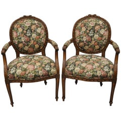 French Country Louis XV Style Finely Carved Walnut Armchairs Round Back a Pair