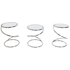 Selection of Chrome Corkscrew End Tables by Pace