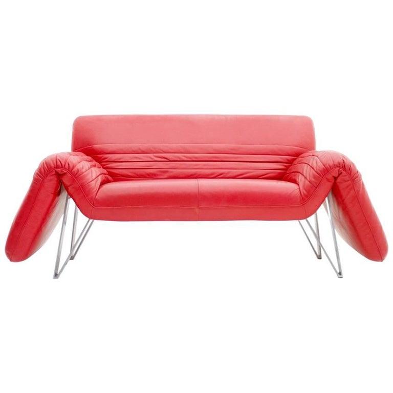 De Sede Leather Sofa DS 142 by Wilfried Totzek in Red Swiss 1988 For Sale
