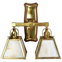 Two Arm Sconce with Wood Back Plate and Slag Glass Shades
