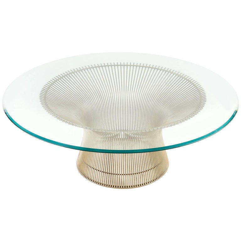 Warren Platner Glass Top Coffee Table with Sculptural Wire Base,  USA 1970s