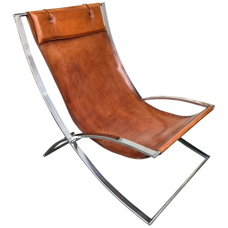Lounge Chair Leather and Chrome by Marcello Cuneo, Italy, 1970s