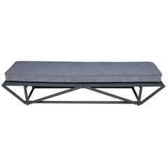 Modern Lacquered Low Bench With Upholstered Cushion