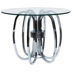 Milo Baughman Glass And Chrome Side Table