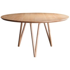 Hair Pin Table 52, Round Maple Hardwood, Dining