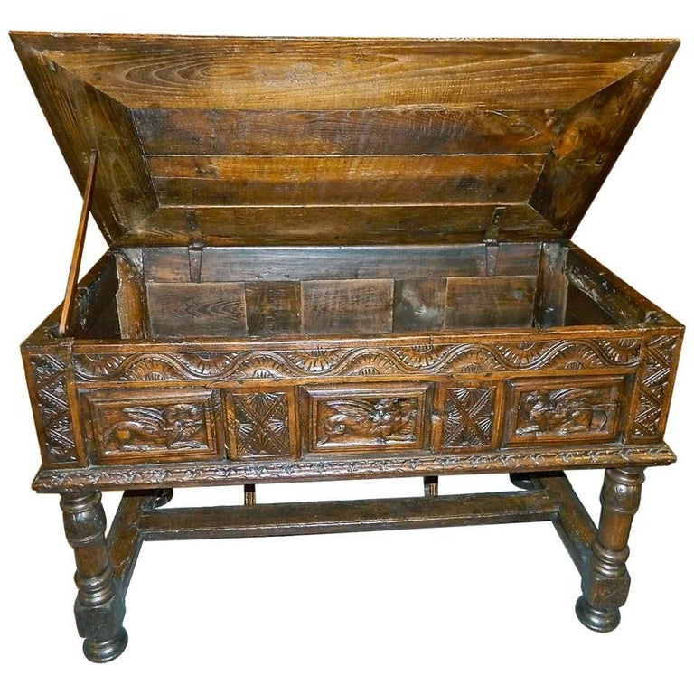 "Early 17th Century Spanish Table Chest, ""Arquimesa"", Chestnut"