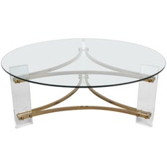 Hollywood Regency Round Lucite and Brass Coffee table