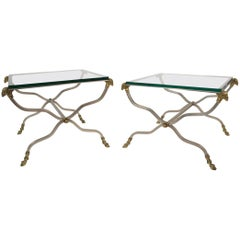 Pair of Italian Steel and Brass Side Tables