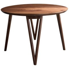 Hair Pin Table 42, Round, Walnut Hardwood, Dining, Center Table
