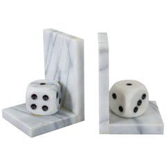 Mid-Century Modern Italian Marble Dice Bookends