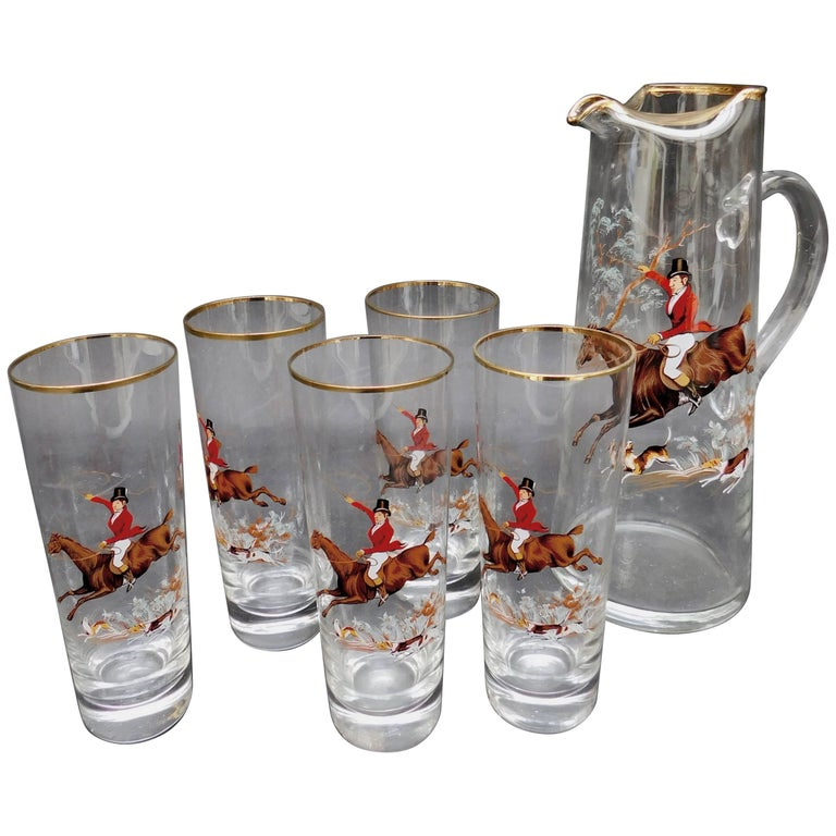 1940's English Glass Pitcher and Glasses with Equestrian Fox Hunting Scene