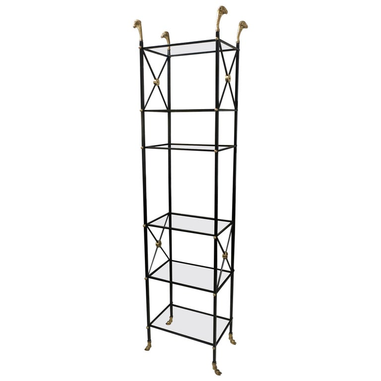Ebonized  Iron and Brass Bookcase/ Etagere in the Regency Manner