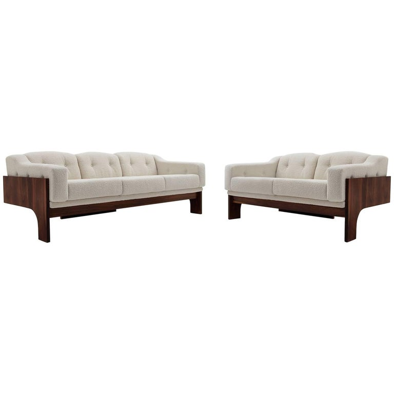 Rosewood and Bouclé Midcentury Sofa Set by Claudio Salocchi for Sormani, 1960s