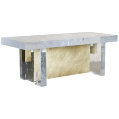 Melrose Bench, Crystal and Brass by Robert Kuo, Limited Edition, in Stock