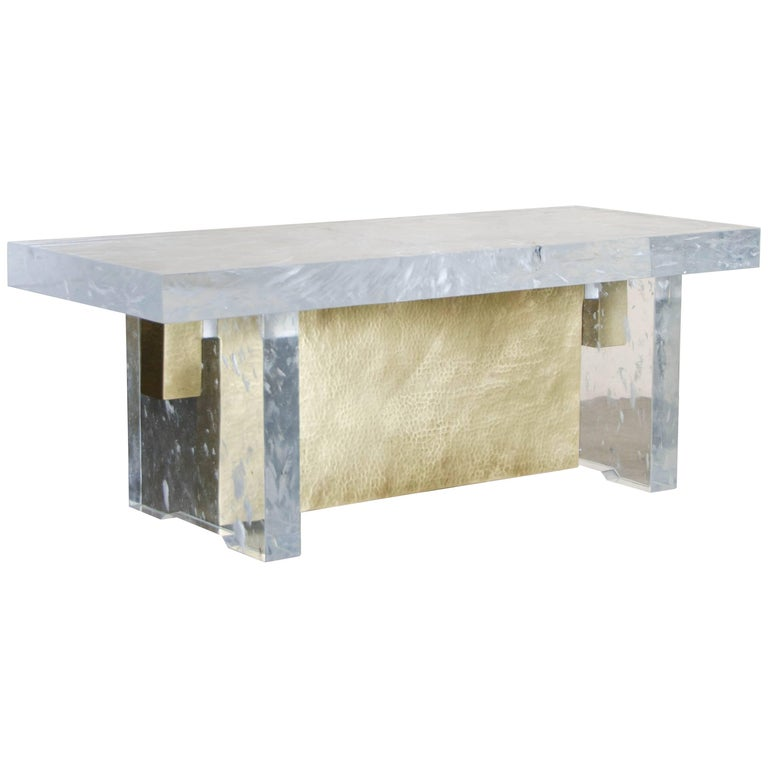 Melrose Bench, Crystal and Brass by Robert Kuo, Limited Edition, in Stock For Sale