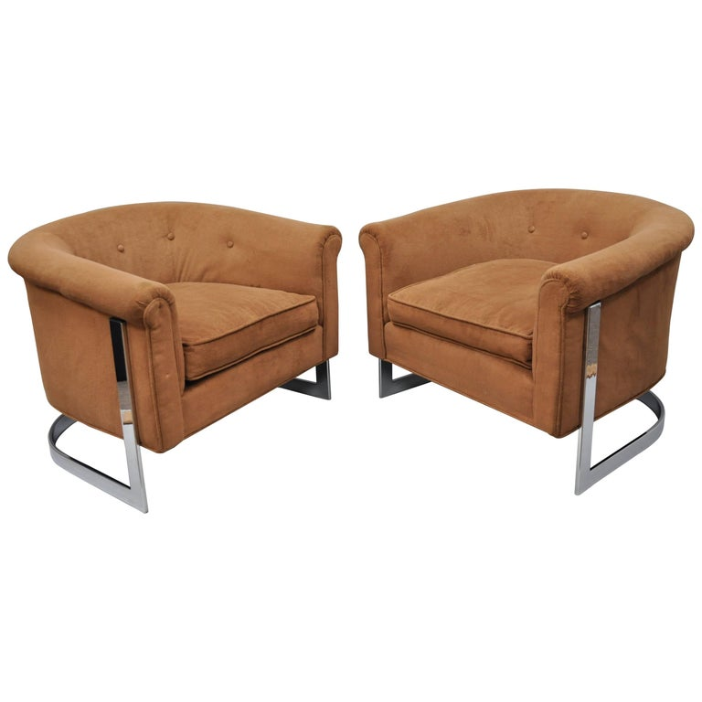 Pair of Milo Baughman Style Chrome Barrel Back Lounge Club Chairs